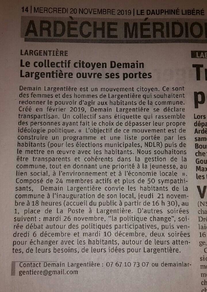 Photo article Demain Largentière 2020