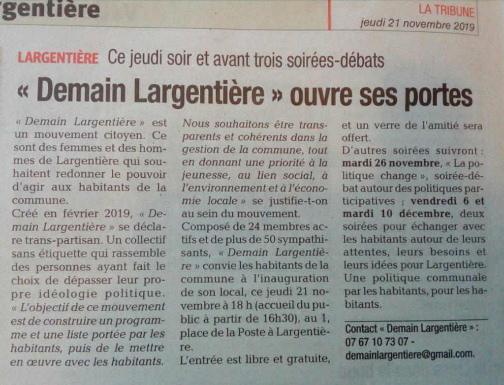 """Demain Largentière 2020 Article """"Demain Largentière"""" ouvre ses portes"""