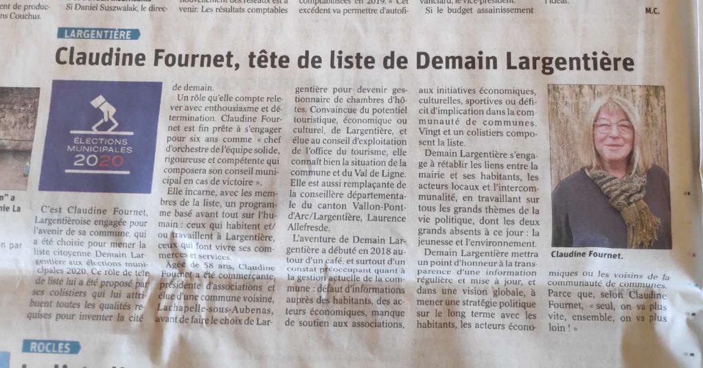 Article journal Demain Largentière